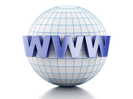 3D Illustration. Globe with text www. Internet media concept. Isolated white background.