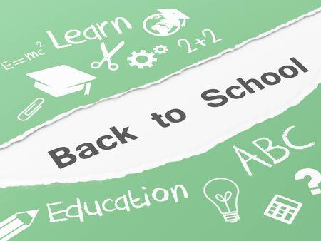 schoolwork: 3d renderer image. Torn paper back to school. Education concept.