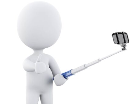 white person: 3d renderer image. 3d white people taking selfie with selfie stick and smartphone. Isolated white background.