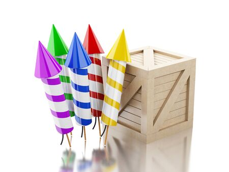 petard: 3d renderer image. Box with fireworks. Isolated white background. Stock Photo