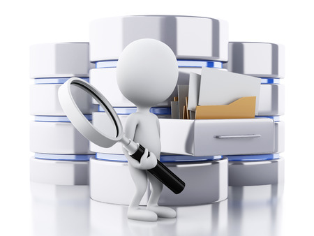 storage: 3d renderer image. White people with data storage. Database concept. Isolated white background