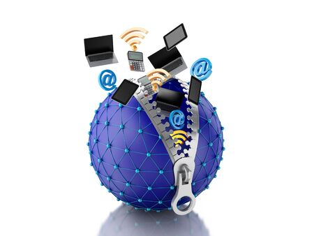 intercommunication: 3d renderer image. Network globe with zipper open and inside internet icons. Network concept. Isolated white background. Stock Photo