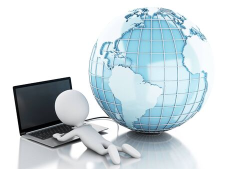 man lying down: 3d renderer image. White people relax with laptop and network globe. Network Communications concept. Isolated white background.