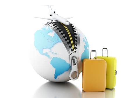 business class travel: 3d renderer image. Globe ball with zipper open, airplane and suitcases. Travel concept. Isolated white background.