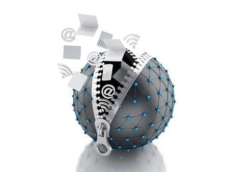 intercommunication: 3d renderer image. Network globe with zipper open and inside internet icons. Network Communications concept. Isolated white background.