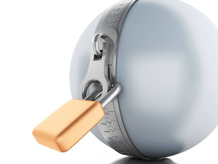 safest: 3d renderer image. Ball with zipper and padlock. Security concept. Isolated white background.