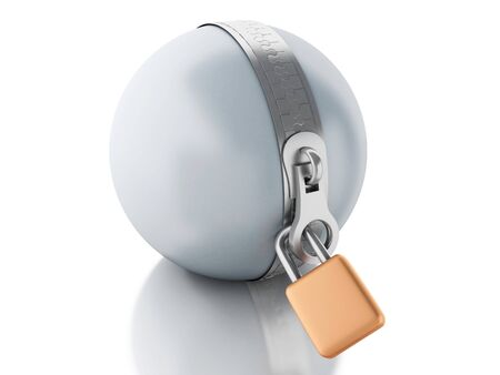 three dimensional accessibility: 3d renderer image. Ball with zipper and padlock. Security concept. Isolated white background.