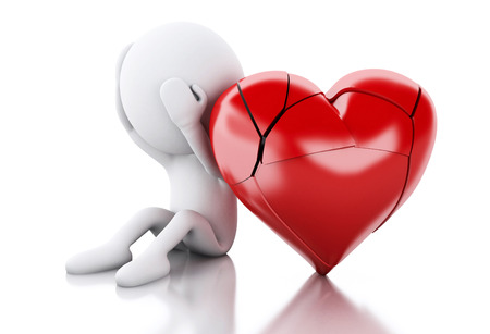 broken love: 3d renderer image. White people with heart broken. Love concept. Isolated white background.