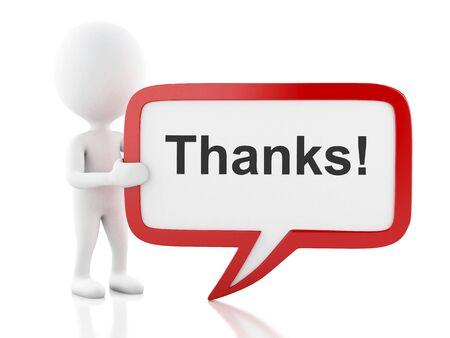 agradecimiento: la imagen de render 3D. La gente blanca con bocadillo que dice gracias. Concepto de negocio. fondo blanco aislado.
