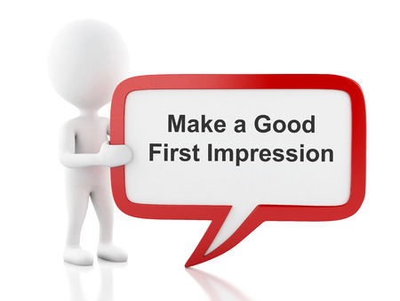 appear: 3d renderer image. White people with speech bubble that says Make a Good First Impression. Business concept. Isolated white background.