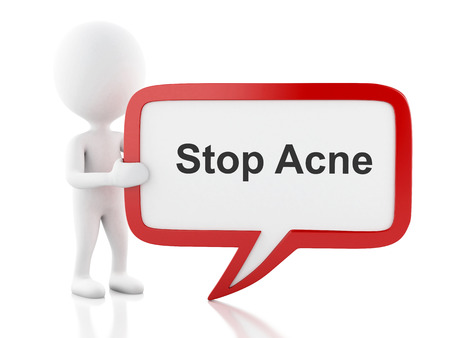 zit: 3d renderer image. White people with speech bubble that says Stop Acne. Isolated white background. Stock Photo