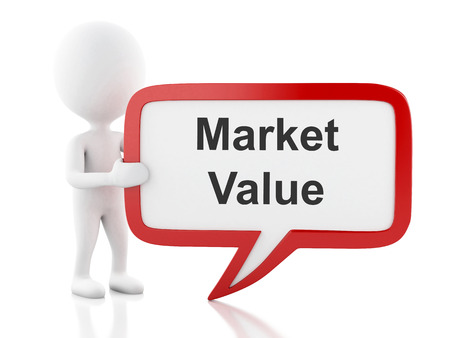 market value: 3d renderer image. White people with speech bubble that says Market value. Business concept. Isolated white background. Stock Photo