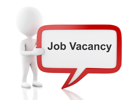 job vacancy: 3d renderer image. White people with speech bubble that says Job Vacancy. Business concept. Isolated white background.