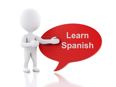 polyglot: 3d renderer image. White people with speech bubble that says Learn Spanish. Education concept. Isolated white background. Stock Photo