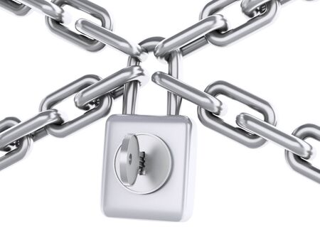 inaccessible: 3d renderer image. Chain with padlock. Security concept. Isolated white background.