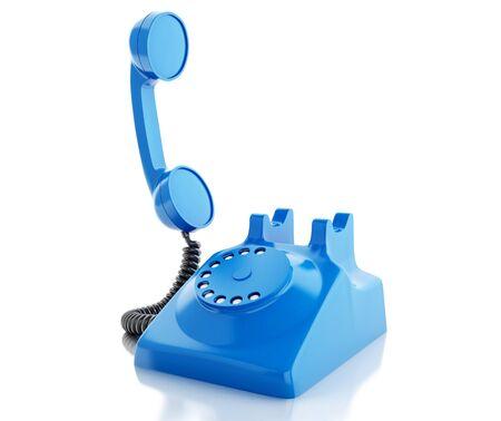 numpad: 3d renderer image. Old blue phone. Communication concept. Isolated white background.
