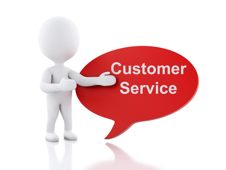 operational: 3d renderer image. White people with speech bubble that says Customer Service. Business concept. Isolated white background.