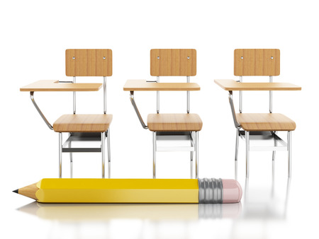 schooldesk: 3d renderer image. School chairs and pencil. Education concept. Isolated white background. Stock Photo