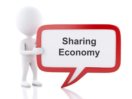 3 d レンダラーのイメージ。共有経済を言う吹き出しの白人。ビジネス コンセプトです。孤立した白い背景。