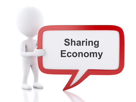 3d renderer image. White people with speech bubble that says Sharing Economy. Business concept. Isolated white background.