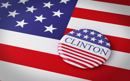 campaigning: Buenos Aires, Argentina - 12 MAY, 2016: 3d Illustration of presidential campaign pins of Hillary Clinton running for the presidents office with US flag.