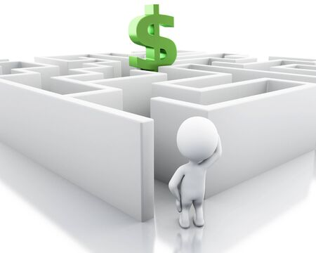 finding: 3d renderer image. White people with a maze and dollar sign. Success challenge. Isolated white background.