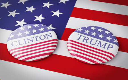 trump: Buenos Aires, Argentina - 12 MAY, 2016: 3d Illustration of presidential campaign pins of Hillary Clinton and Donald Trump running for the presidents office with US flag.