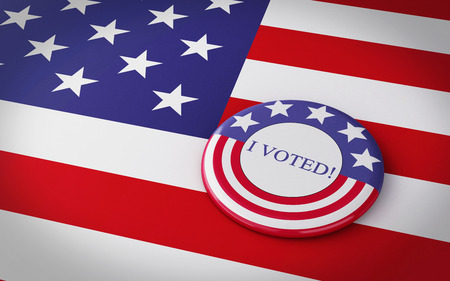 campaigning: 3d image renderer. llustration of pins With US presidential campaign flag. Stock Photo