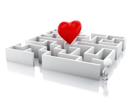 finding: 3d renderer image. White people with a maze and a heart in middle. Success challenge. Isolated white background.