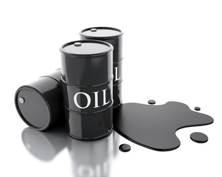 spilled: 3d renderer image. Three barrels of oil spilled. Isolated white background.