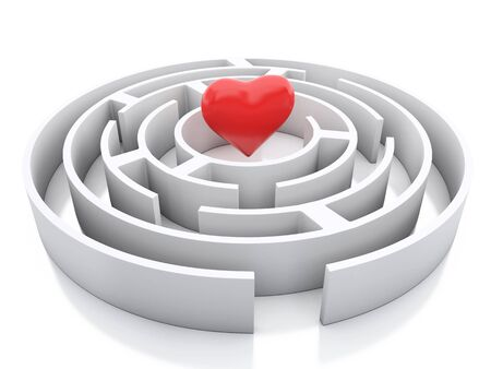 finding love: 3d renderer image. Maze and a heart in middle. Success challenge. Isolated white background.