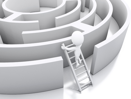 labirinth: 3d renderer image. White people in a maze with white stairs. Challenge and business concept. Isolated white background.