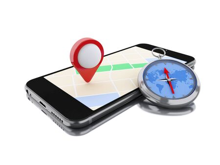 red  pointer: 3d renderer image. Smartphone with a map, red pointer and a compass. Navigation concept. Isolated white background. Stock Photo