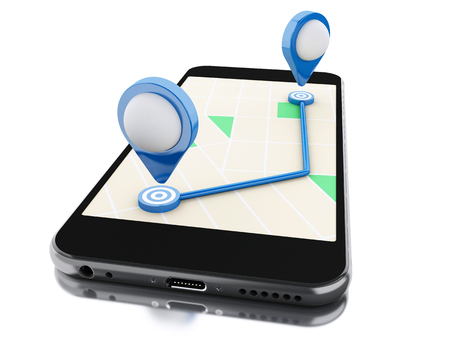 planned: 3d renderer image. Smartphone with a map, blue pointer and planned route on screen. Navigation concept. Isolated white background. Stock Photo