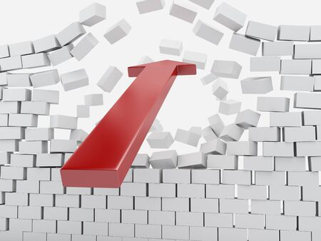 collapsed: 3d renderer image. Red arrow breaking brick wall. Success concept. Isolated white background.