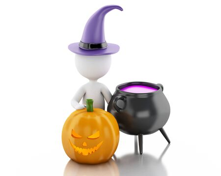 3d witch: 3d renderer image. White people with pumpkin, witch hat and pot. Halloween concept. Isolated white background.
