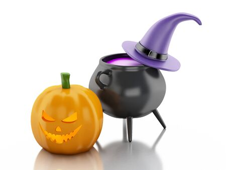 3d witch: 3d renderer image. Halloween pumpkin with hat and witch pot. Isolated white background. Stock Photo