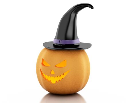 3d witch: 3d renderer image. Halloween pumpkin with witch hat. Halloween concept. Isolated white background.