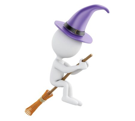 renders: 3d renderer image. Witch flying on broom. Halloween concept. Isolated white background.