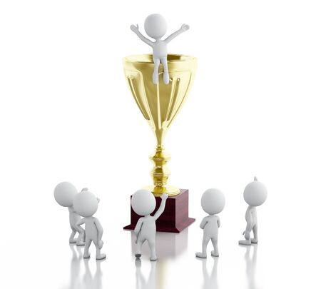 3d renderer image. White people on top of trophy. Success concept. Isolated white background.