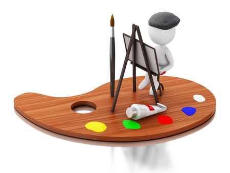 creativeness: 3d renderer image. Artist painting on color palette. Isolated white background.