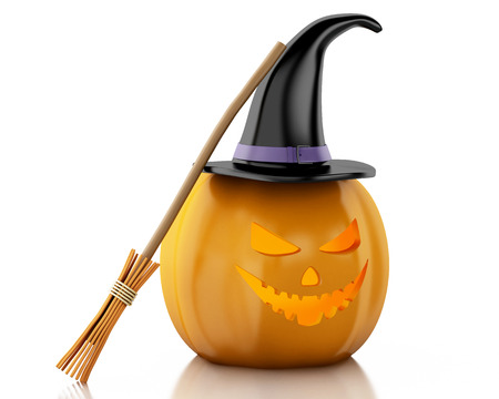 witchery: 3d renderer image. Halloween pumpkin with hat and broom. Halloween concept. Isolated white background.