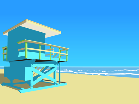 Vector illustration. Blue lifeguard tower at the beach on a sunny day.