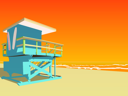 life guard stand: Vector illustration. Blue lifeguard tower on the beach at sunset.