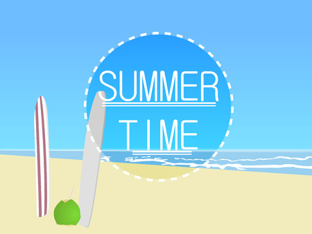 coconut water: Vector illustration. Summer time with sunny beach, surfboards and coconut water. Summer concept. Stock Photo