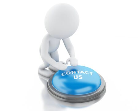 contactus: 3d renderer image. White people push CONTACT US button. Isolated white background. Stock Photo