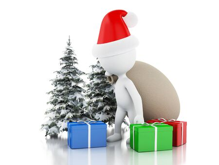 carols: 3d renderer image. Santa Claus with bag, gifts and Christmas tree in fresh snow. Christmas concept. Isolated white background. Stock Photo