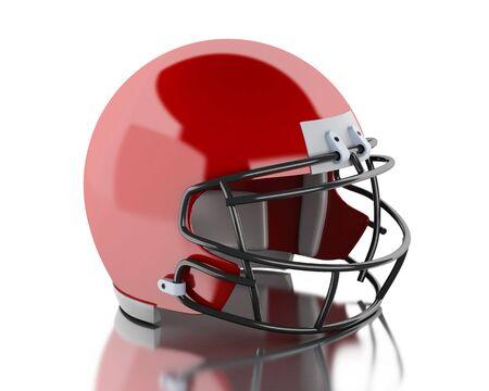 casco rojo: la imagen de render 3D. El fútbol americano casco rojo. Concepto de deporte. fondo blanco aislado.