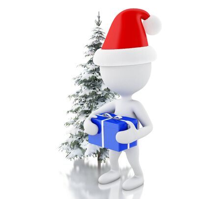 blue gift box: 3d renderer image. White people with blue gift box and Christmas tree in fresh snow. Christmas concept. Isolated white background.