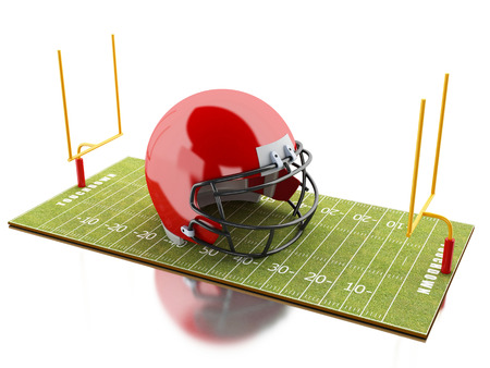 yardline: 3d renderer image. American Football field with red helmet. Sport concept. Isolated white background.